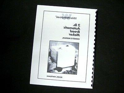 wwtr444a bread maker machine instruction manual