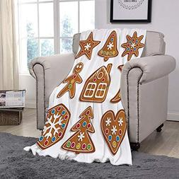 YOLIYANA Light Weight Fleece Throw Blanket/Gingerbread Man,S