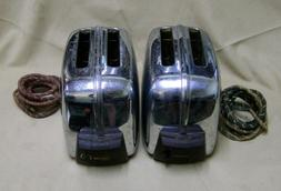 Lot of 2 Vintage Toastmaster 1B14 Automatic Pop-up Chrome To