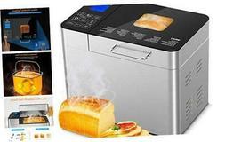 MOOSOO 25-in-1 Bread Machine , 2LB Stainless Steel Programma
