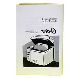 Sunbeam/Oster 102817 breadmaker instruction book.
