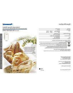 Panasonic SD2501 SD2500 Bread Machine Owners Manual User Gui