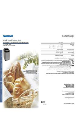 Panasonic SDZB2502 Bread Machine Owners Manual User Guide Re