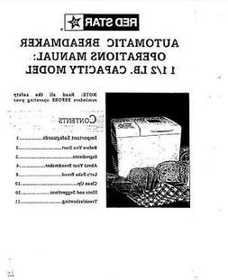 Red Star Bread Machine Manual ERS200, KBM12, TS238A