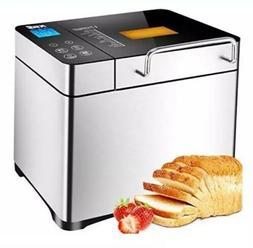 KBS Stainless Steel Bread Machine,1500W 2LB 17-in-1 Programm