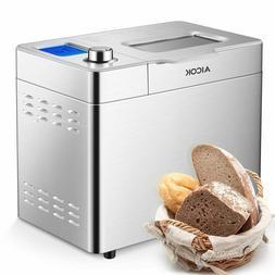Aicok Stainless Steel Bread Machine, 2LB 25-in-1 Programmabl