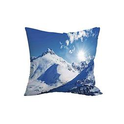 Throw Pillow Cushion,Winter Decorations,Mountain Peak in Sun