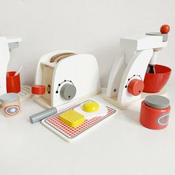 Wooden Kitchen Toaster Breakfast Toys Children Pretend Cooki