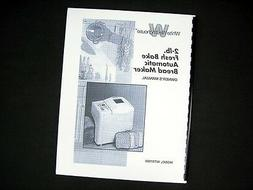 White Westinghouse WTR7000 Bread Maker Machine Instruction M