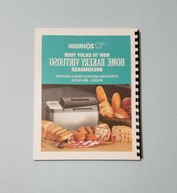 Zojirushi BB-PAC 20 Bread Machine Owner's Instruction Manual