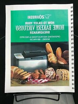 Zojirushi BB-PAC20 Bread Machine Manual Owners Instruction U